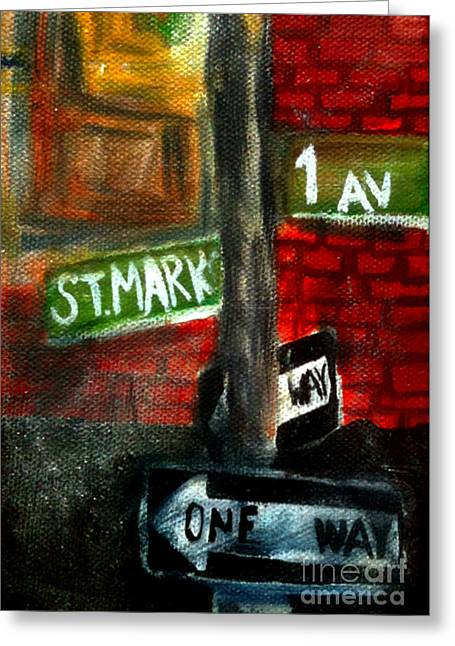 Packing Paintings Greeting Cards - St.Marks Place Greeting Card by Simonne Mina