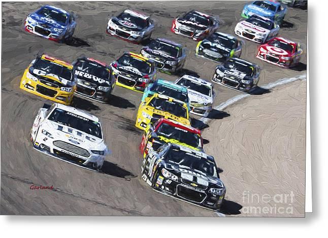 Stock Car Racing In Vegas Greeting Card by Garland Johnson