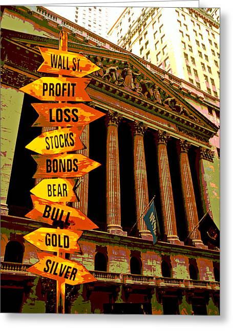 Wall Street Greeting Cards - Stock exchange and signs Greeting Card by Garry Gay