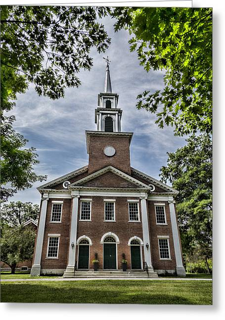 Religious Photographs Greeting Cards - Stockbridge Congregational Church Greeting Card by Stephen Stookey