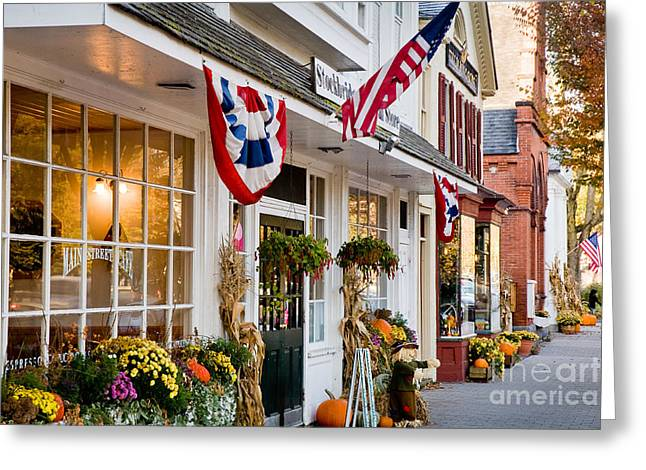Berkshires Of New England Greeting Cards - Stockbridge Main Street Greeting Card by Susan Cole Kelly