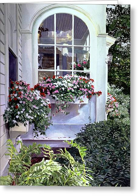 Window Box Greeting Cards - Stockbridge Window Boxes Greeting Card by David Lloyd Glover