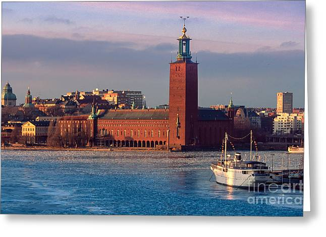 Architectural Photographs Greeting Cards - Stockholm City Hall Greeting Card by Inge Johnsson