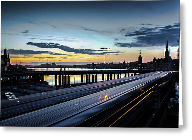 Stockholm Night - Slussen Greeting Card by Nicklas Gustafsson