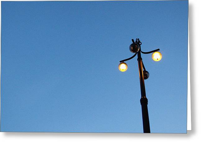 Metal Art Greeting Cards - Stockholm Street Lamp Greeting Card by Linda Woods