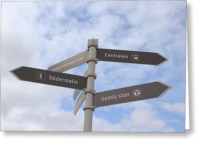 Sweden Greeting Cards - Stockholm Street Signs Greeting Card by Linda Woods