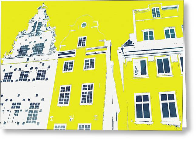 City Buildings Mixed Media Greeting Cards - Stockholm Windows Greeting Card by Linda Woods