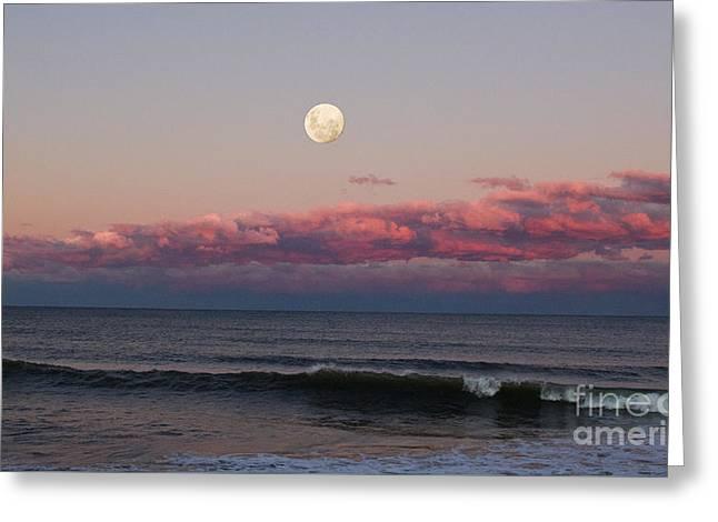 Stockton Greeting Cards - Stockton Beach Moonrise Greeting Card by David Watson