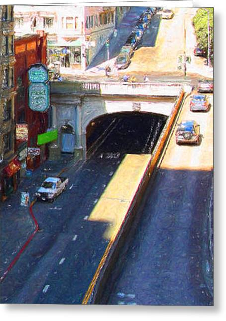 Sutter Street Greeting Cards - Stockton Street Tunnel in Heavy Shadow . Long Version Greeting Card by Wingsdomain Art and Photography