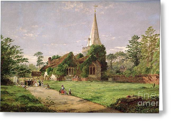 Victorian Greeting Cards - Stoke Poges Church Greeting Card by Jasper Francis Cropsey