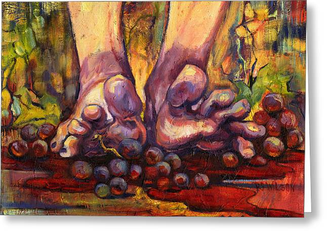 Purple Grapes Greeting Cards - Stomp Greeting Card by Peggy Wilson