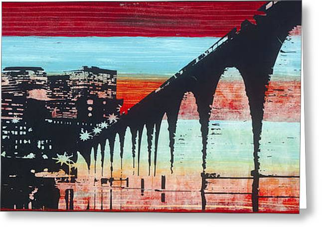 Abstract Digital Mixed Media Greeting Cards - Stone Arch at Dusk Greeting Card by Desiree Roush