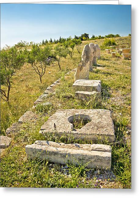 Historic Site Greeting Cards - Stone artifacts of ancient town of Asseria  Greeting Card by Dalibor Brlek