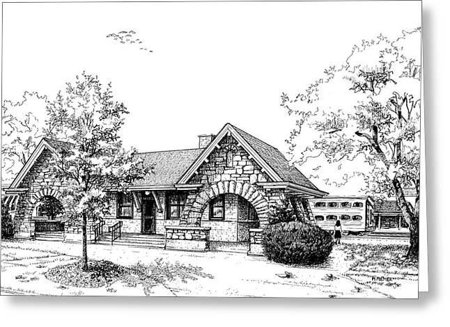 Pen And Ink Drawing Greeting Cards - Stone Ave. Train Station Greeting Card by Mary Palmer