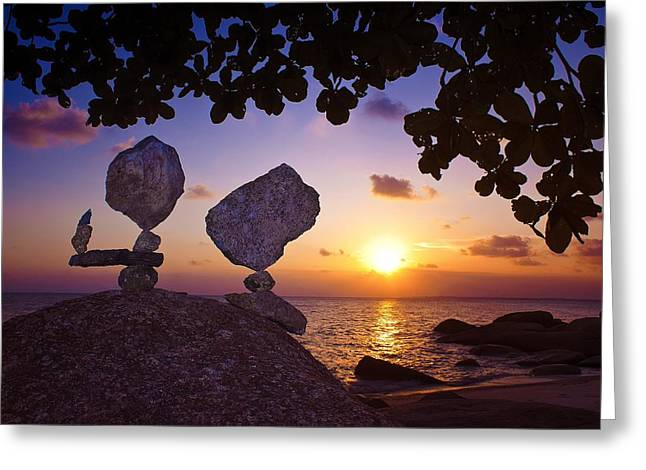 Sunset Prints Greeting Cards - Stone Balence Greeting Card by Ornax Bozy