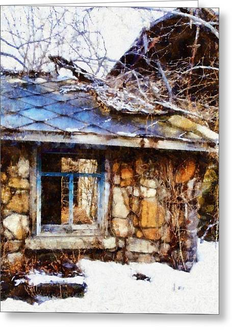 Bare Trees Greeting Cards - Stone barn old Blue window Greeting Card by Janine Riley