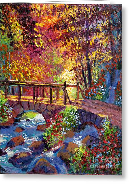 Flowering Trees Greeting Cards - Stone Bridge at Royal Gardens Greeting Card by David Lloyd Glover