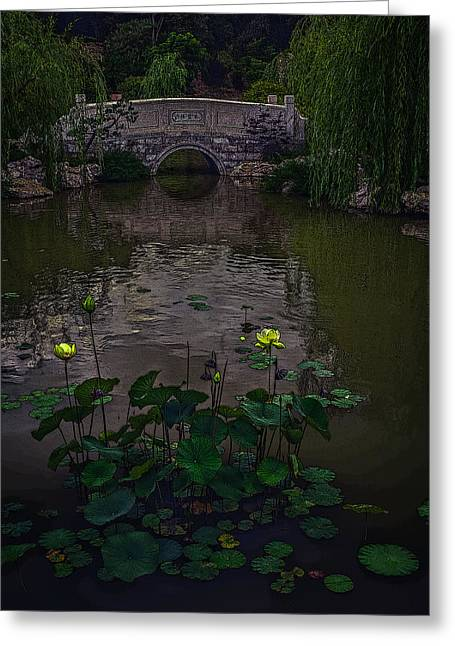 Lilies Pyrography Greeting Cards - Stone Bridge over Pond Greeting Card by Rick Strobaugh