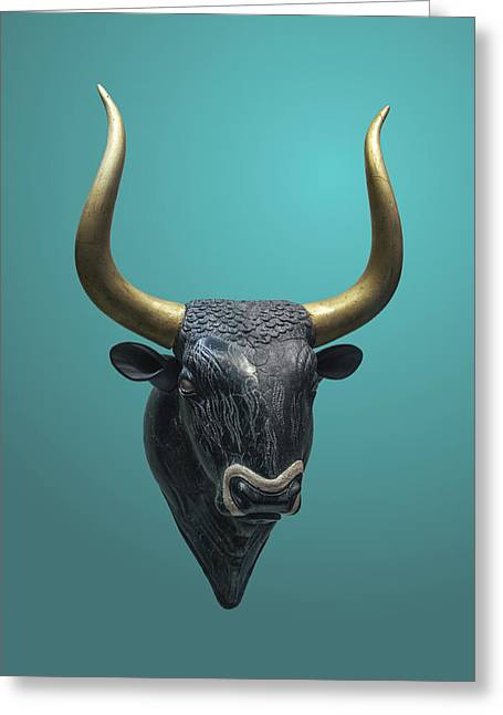 Old Sculptures Greeting Cards - Stone Bulls Head of Ryton Greeting Card by Jebulon