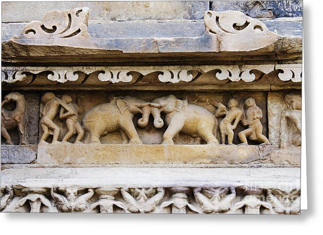 Stone Carving Greeting Cards - Stone Carvings in Old Temples at Khajuraho Greeting Card by Jeremy Woodhouse