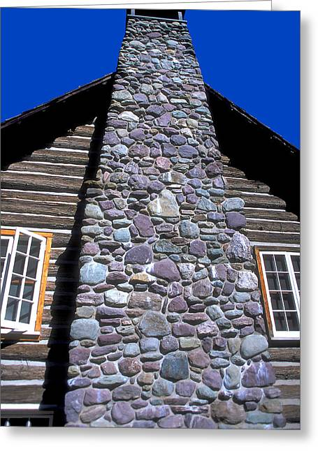 Log Cabins Greeting Cards - Stone Chimney Greeting Card by Carl Purcell