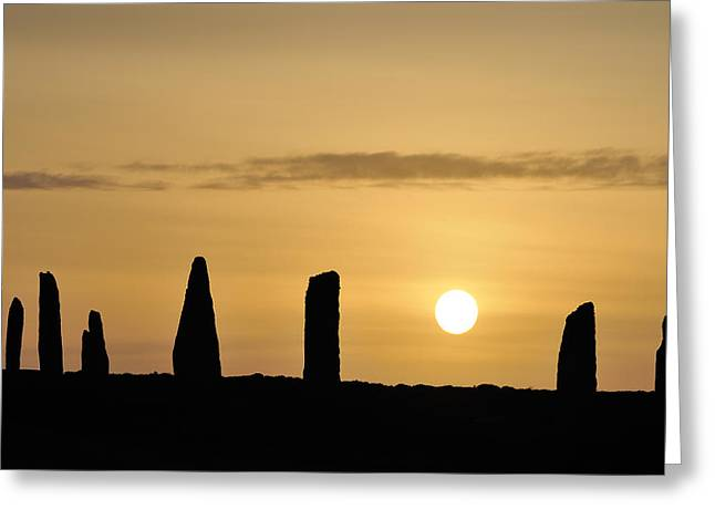 Monolith Greeting Cards - Stone Circle Sunset Greeting Card by Andrew Greaves