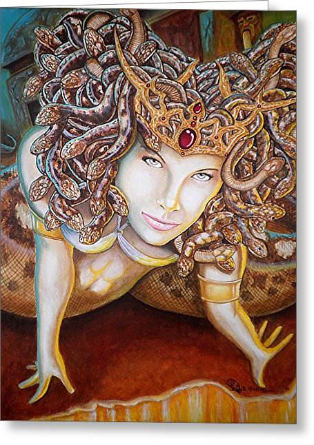 Medusa Paintings Greeting Cards - Stone Cold Beauty Greeting Card by Al  Molina