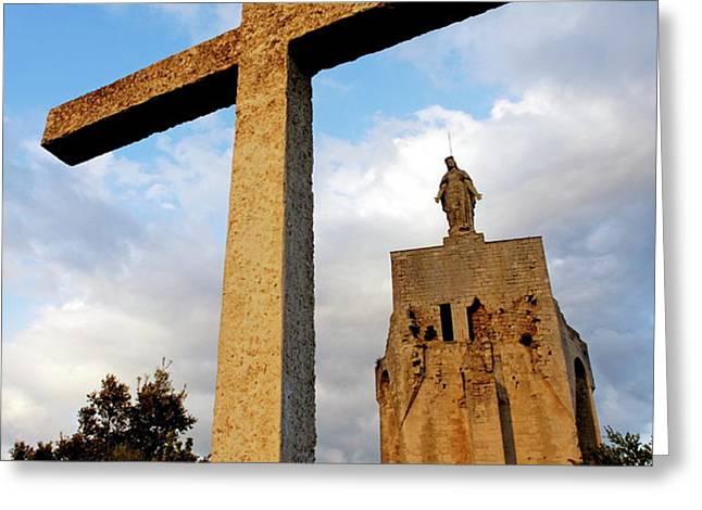 Stone crucifix Greeting Card by Sami Sarkis
