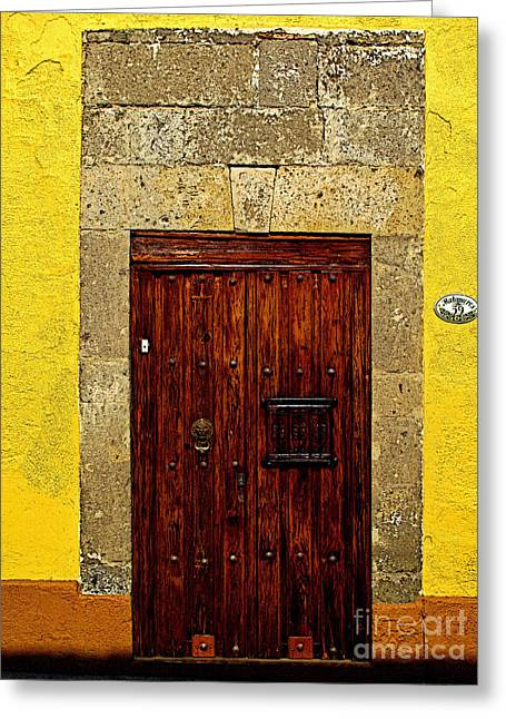 Guadalajara Greeting Cards - Stone Door in Yellow Greeting Card by Olden Mexico