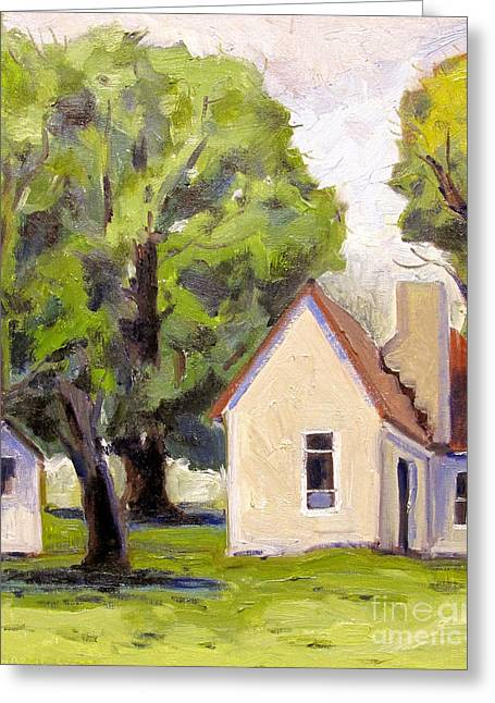 Stone House Point Road Plein Air Greeting Card by Charlie Spear
