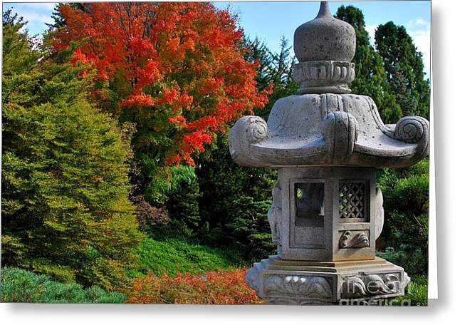 Garden Statuary Greeting Cards - Stone Lantern in Autumn Greeting Card by Nancy Mueller