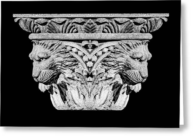 Courage Greeting Cards - Stone Lion Column Detail Greeting Card by Tom Mc Nemar