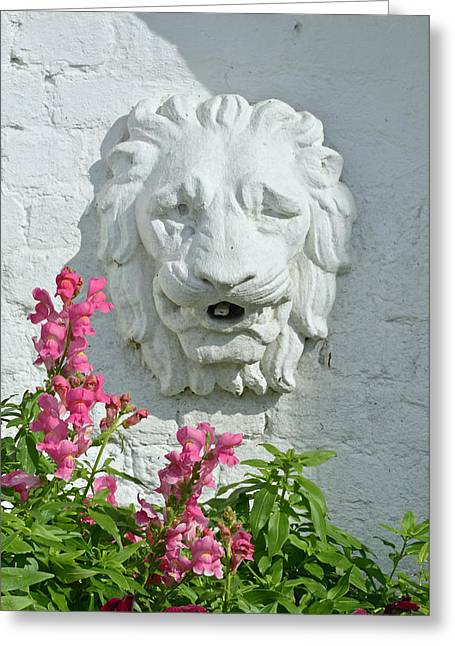 Stone Lion Head With Flowers Greeting Card by Bruce Gourley