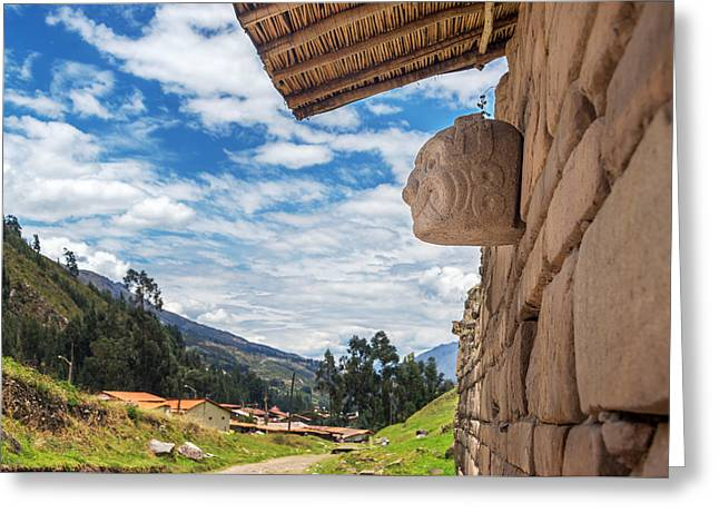 Civilization Greeting Cards - Stone Mask at Chavin de Huantar Greeting Card by Jess Kraft