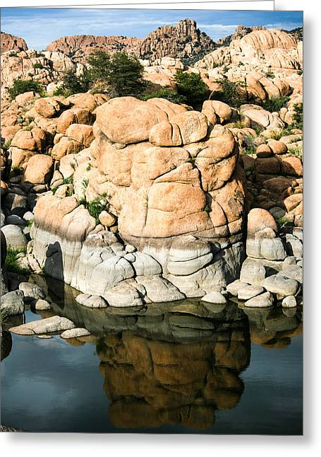 Watson Lake Greeting Cards - Stone Reflection Greeting Card by Tracey Lyn  Productions