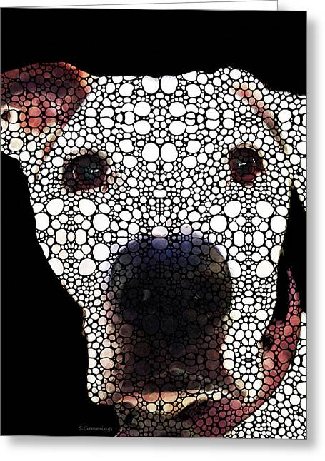Pit Bull Greeting Cards - Stone Rockd Dog 2 by Sharon Cummings Greeting Card by Sharon Cummings