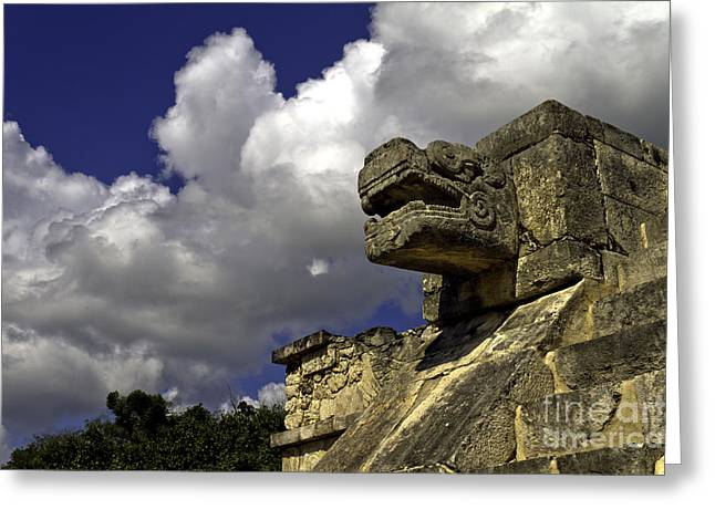 Mayan Jaguar Greeting Cards - Stone Sky and Clouds Greeting Card by Ken Frischkorn