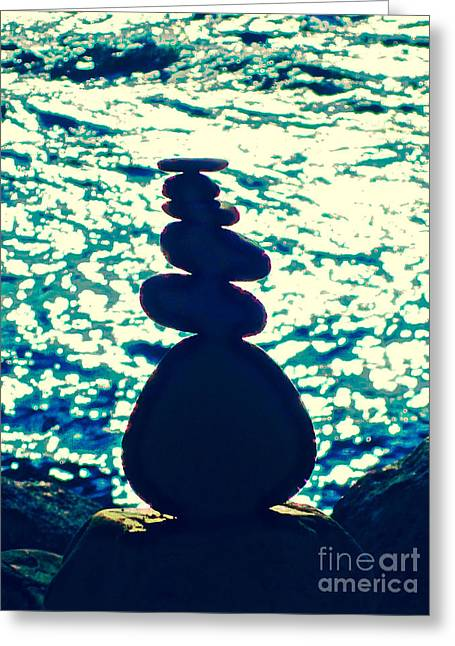 Stone Stack Greeting Card by Laura Star