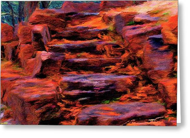 Stone Steps in Autumn Greeting Card by Jeff Kolker