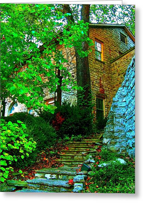 Stepping Stones Mixed Media Greeting Cards - Stone Steps Greeting Card by Julie  Grace