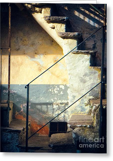 Stepping Stones Greeting Cards - Stone steps outside an old house Greeting Card by Silvia Ganora