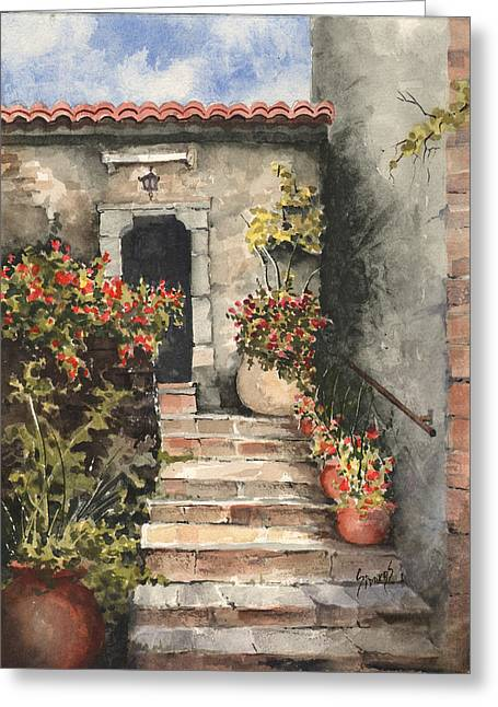 Steps Paintings Greeting Cards - Stone Steps Greeting Card by Sam Sidders