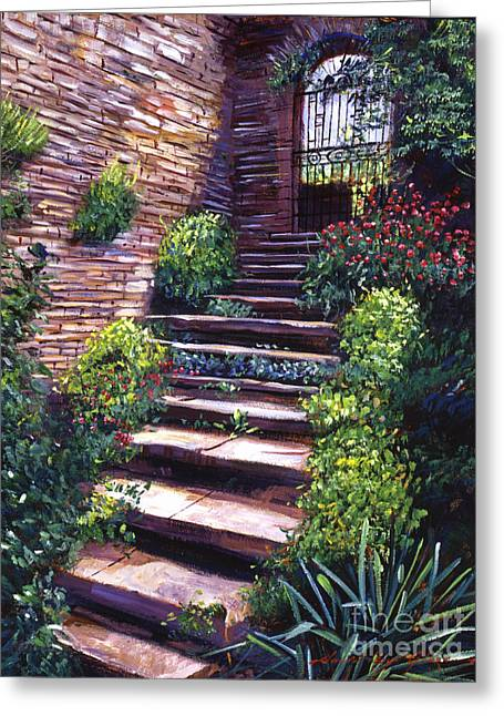 Stone Steps Greeting Cards - Stone Steps Tuscany Greeting Card by David Lloyd Glover