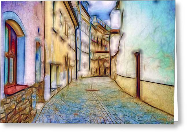 Stone Street Greeting Card by Nikola Durdevic