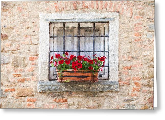 Italian Kitchen Greeting Cards - Stone Window of Cortona II Greeting Card by David Letts