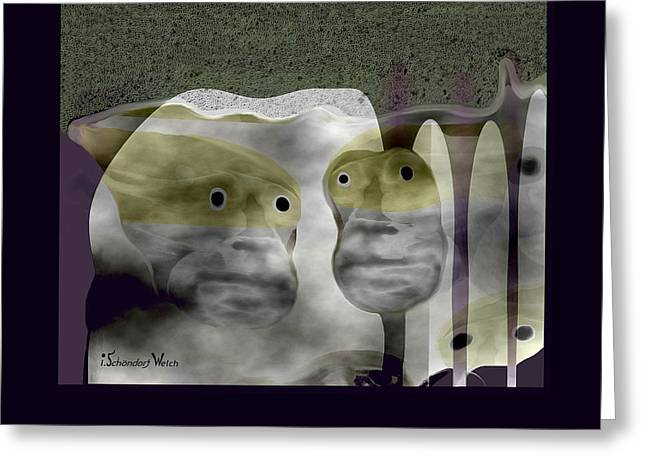 Stoneheads - 413  Greeting Card by Irmgard Schoendorf Welch