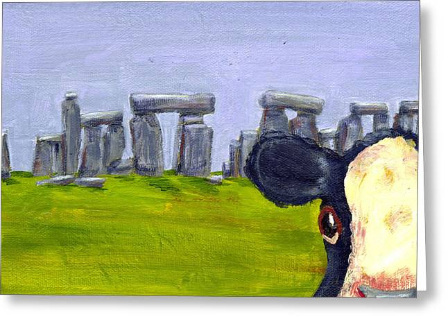 Winter Photos Paintings Greeting Cards - Stonehenge Cow Greeting Card by Terry Taylor