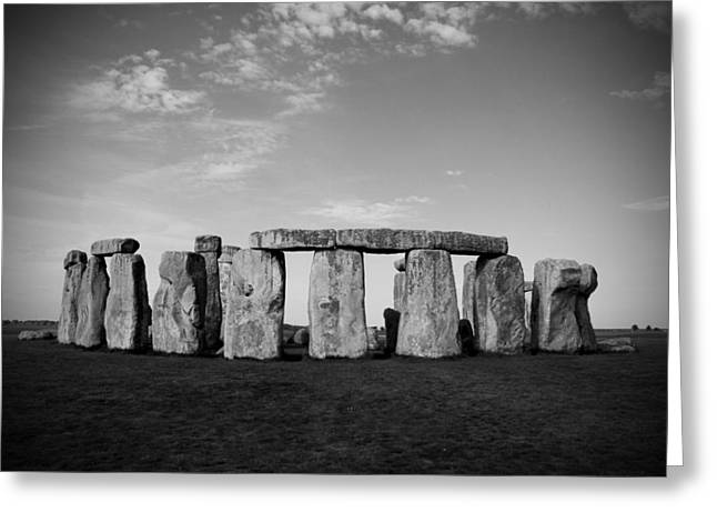 Kamil Greeting Cards - Stonehenge On a Clear Blue Day BW Greeting Card by Kamil Swiatek