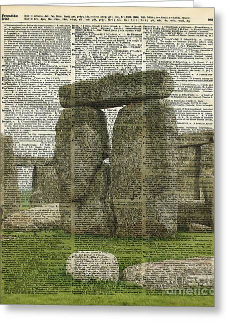 Mixed Media Photo Greeting Cards - Stonehenge over Dictionary page Greeting Card by Jacob Kuch