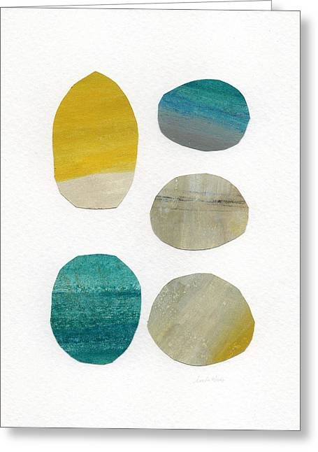 Shapes Mixed Media Greeting Cards - Stones- abstract art Greeting Card by Linda Woods